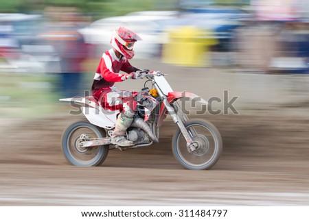 Motion Blurred Motocross Bike Dirt Track Stock Photo (Edit