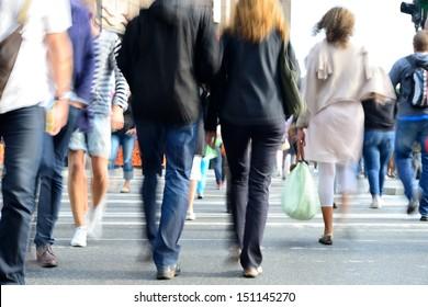 Motion blurred pedestrians