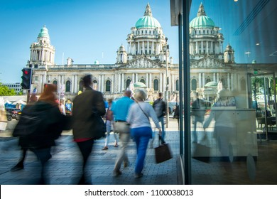 Motion blurred people on Belfast high street