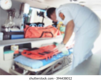 A motion blurred photograph of inside of an ambulance