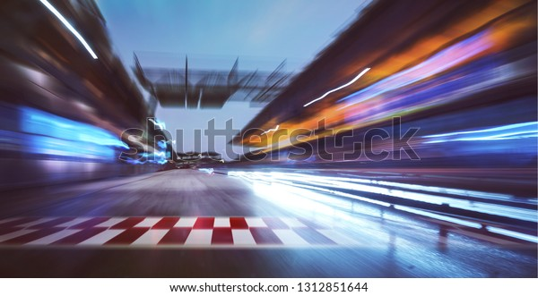 Motion blurred racetrack with start or end line and  lighting effect apply .