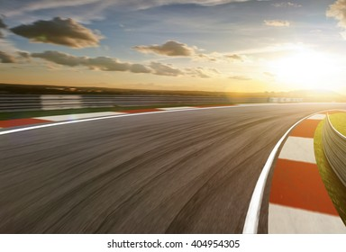 Motion blurred racetrack,sunrise mood