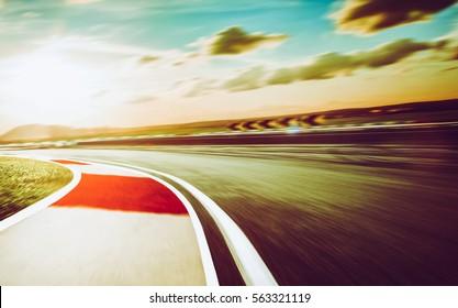 Motion blurred racetrack,vintage mood mood