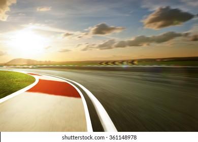 Motion blurred racetrack,warm mood mood
