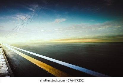 Motion blurred racetrack,warm mood