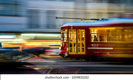 Motion blurs of street car in New Orleans on Canal street in March of 2018
