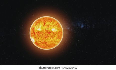 motion graph orange Sun circle with burning lava and halo shines in space rotating against white Milky Way. 3d animation. Science and technology concept. Elements of this media furnished by NASA