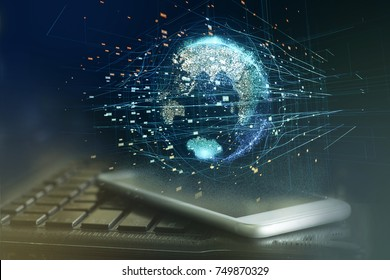 Motion Graphics World Transportation integration concept , logistic concept , smartphone screen with blur laptop background