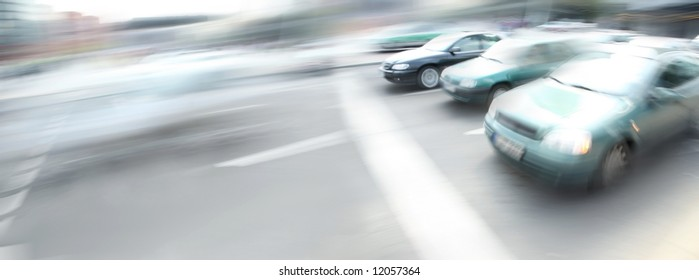 motion image of cars on city street