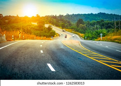 Motion long road highway on forest and hills background