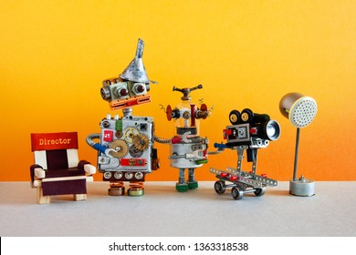 Motion picture robotic filmmaking backstage concept. Creative robot director and cameraman shoots blockbuster television movie or serial episode. The concept of automated shooting video content