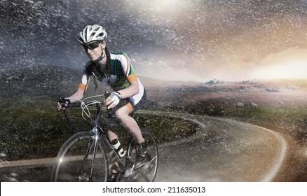 Motion road cyclist.