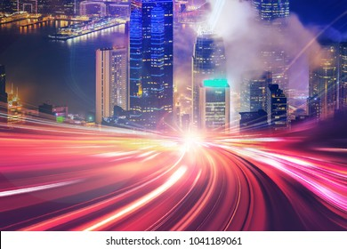 Motion speed effect with city background