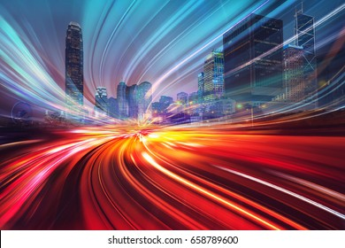 Motion speed effect with City Night Illustration - Shutterstock ID 658789600
