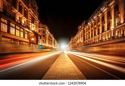 Motion speed light trails in Golden Regent Street, London