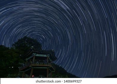 motion of the stars captured in long exposure star trail photography