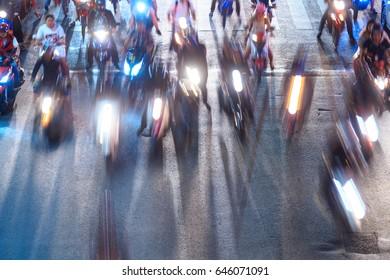 Motion Thai night street, motobike, motorcycle
