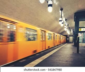 motion yellow subway in Berlin city