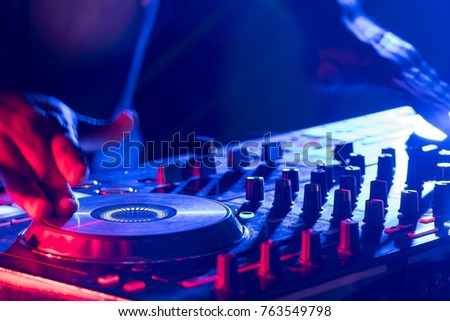 motionblur dj hands on equipment deck stock photo edit now