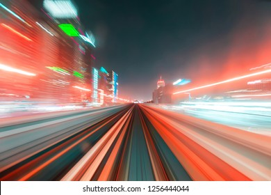 motions of lights, long exposure, subway and transport