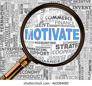 Motivate Magnifier Representing Do It Now And Motivation