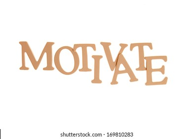 Motivate - Three Dimensional Letter isolated on white background.