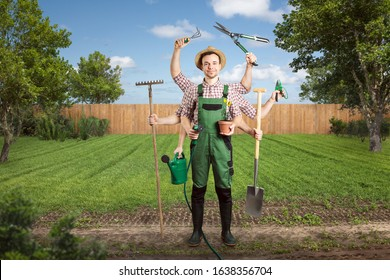 Motivated gardener with multiple arms and tools