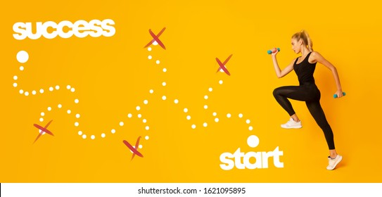 Motivated young woman exercising with dumbbells, staying on start of success pathway, yellow background, successful training tips, sport lifestyle concept
