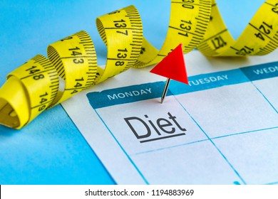 Motivation concept. Planning a diet, sports, working on yourself for your development, health and success from tomorrow. Tomorrow and monday concept.