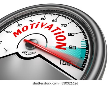 Motivation conceptual meter indicate hundred per cent, isolated on white background