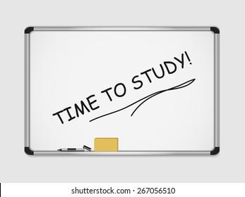 Motivation marker inscription on white board. time to study