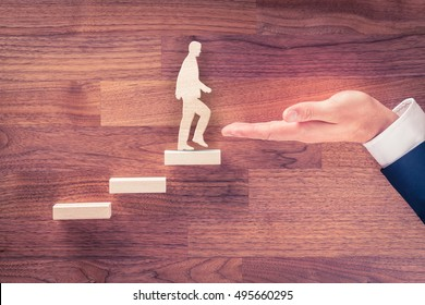 Motivation and personal development, personal and career growth, progress and potential concepts. Metaphor of coach (human resources officer, manager, mentor) motivate employee (or client) to growth.