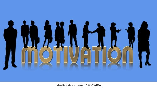 motivation - silhouettes of business people