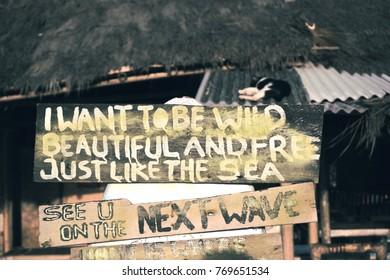 Motivational beach sign