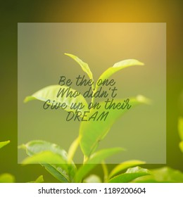 Motivational and inspiration quotes with phrase be the one who didn't give up on their dream with nature background
