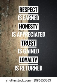 Motivational and inspirational quote - Respect is earned. Honesty is appreciated. Trust is gained. Loyalty is returned. Vintage styled blurry background.