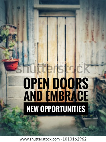 Motivational Inspirational Quotes Open Doors Embrace Stock Photo Best Quotes About Doors