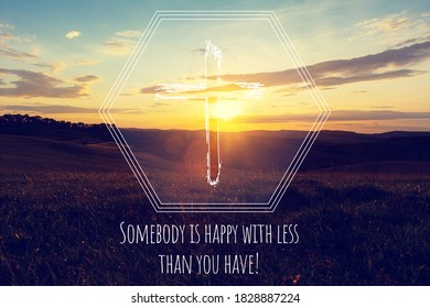 Motivational quote on sunrise background and Christian cross
