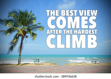 motivational quote of success on nature coconut tree at the beach with blue sky.
