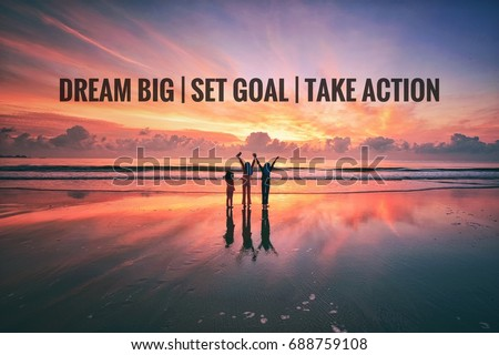 Motivational Quotes Background Three Kids Standing Stock Photo Edit