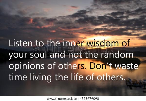 Motivational Quotes Listen Inner Wisdom Your Stock Photo ...