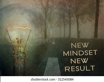 Motivational quotes  mindset for new results concept. Grunge wall background.