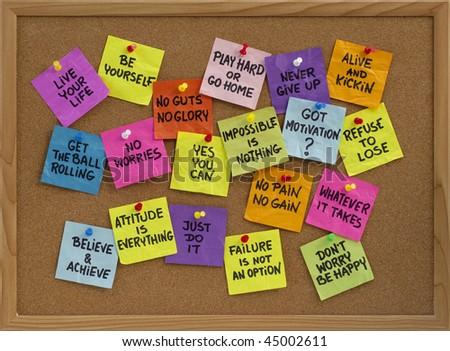 Motivational Slogans Phrases Colorful Reminder Notes Stock Photo Best Motivational Slogans