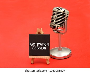 Motivational Speach session with metal microphone design