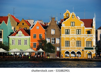 The motley buildings at the seafront of Willemstad (Curacao)