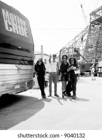 Motley Crue: John Corabi, Mick Mars, Nikki Sixx, and Tommy Lee tour the Rock and Roll Hall of Fame and Museum during its construction phase in 1994.