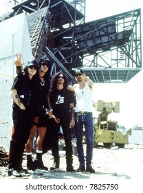 Motley Crue: Tommy Lee, Nikki Sixx, John Corabi, and Mick Mars, musicians, of Motley Crue at The Rock and Roll Hall of Fame and Museum in Cleveland, Ohio during its construction phase in 1995.