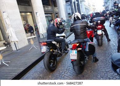 The Moto Befana through the Novara City,  Piedmont, Italy 6 January 2017