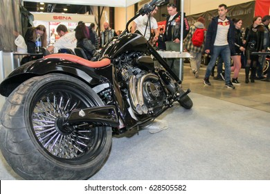 Motobike in the showroom. St. Petersburg Russia - 15 April, 2017. International Motor Show IMIS-2017 in Expoforurum. Motorcycles and motoconcepts presented at St. Petersburg Motor Show.