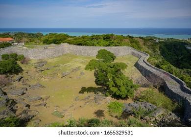 MOTOBU, OKINAWA, JAPAN - FEBRUARY 04, 2020: View of Nakijin Castle Ruins, one of the UNESCO World Heritage designated Castles of the Ryukyu Kingdom.